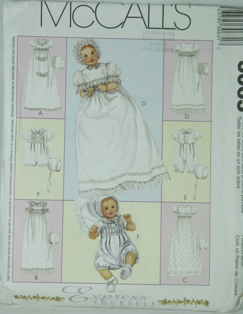 McCALL/'S 3063 INFANTS/' CHRISTENING GOWN ROMPER /& BONNET Pattern