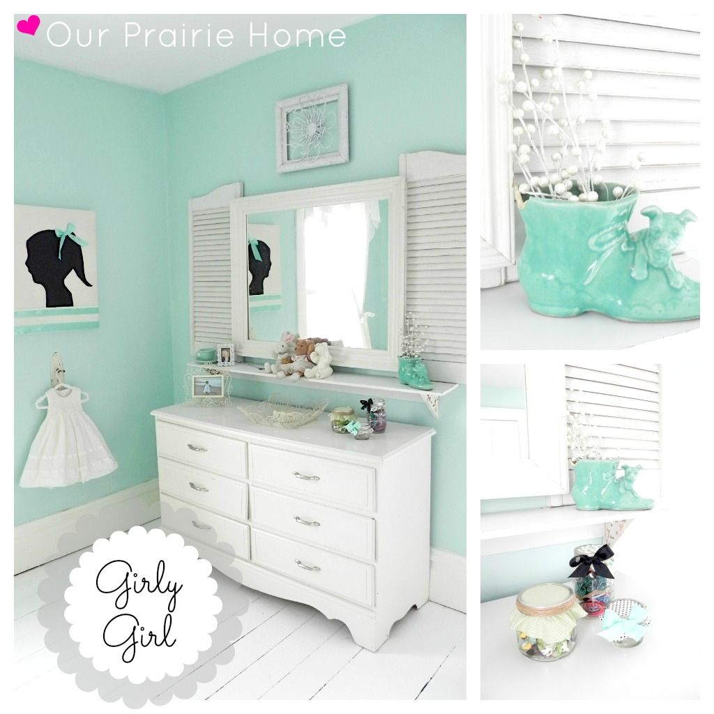 Dreamy Aqua Girls #bedroom #makeover. Budget DIY Before and After.