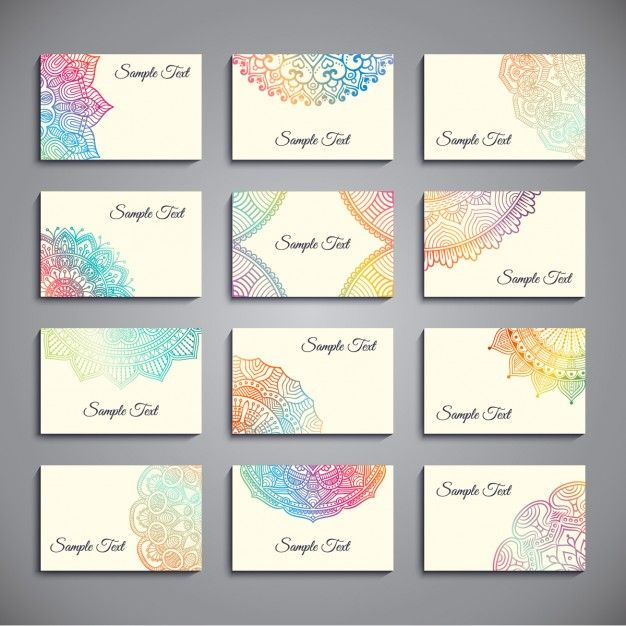 Set of business cards with colorful mandalas free vector typo logo set of business cards with colorful mandalas free vector feng shuimandalas colourmoves
