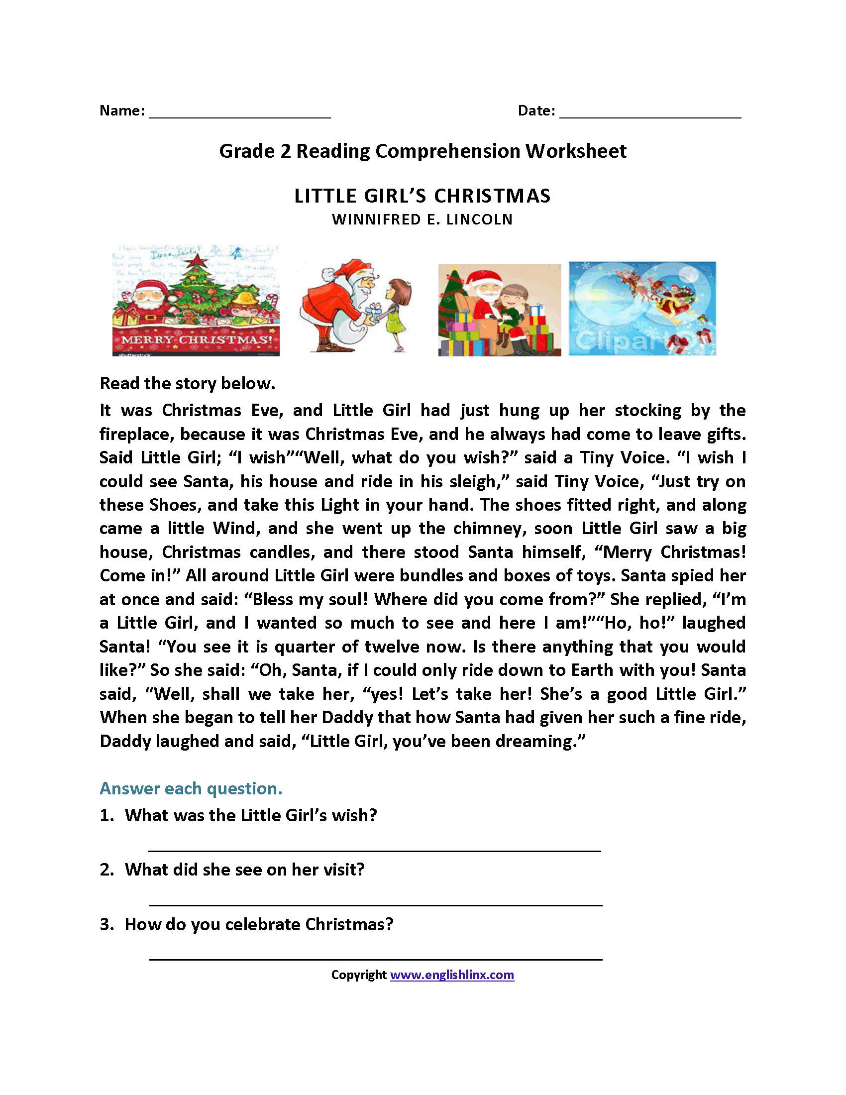 Little Girl S Christmas Second Grade Reading Worksheets
