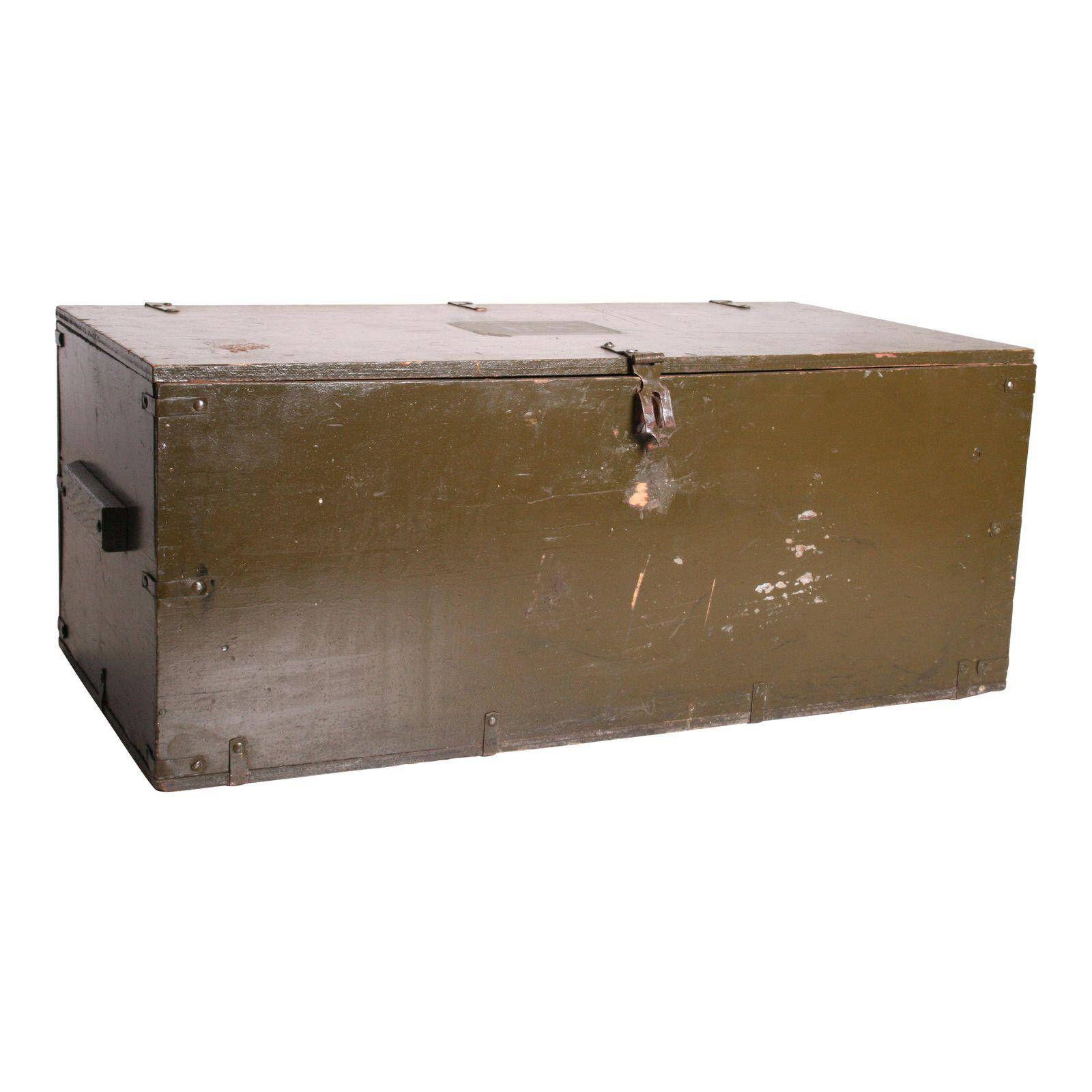 Vintage Military STORAGE TRUNK W Tray ~ Black Drab Green Flat Top Foot  Locker Wwii Ww2