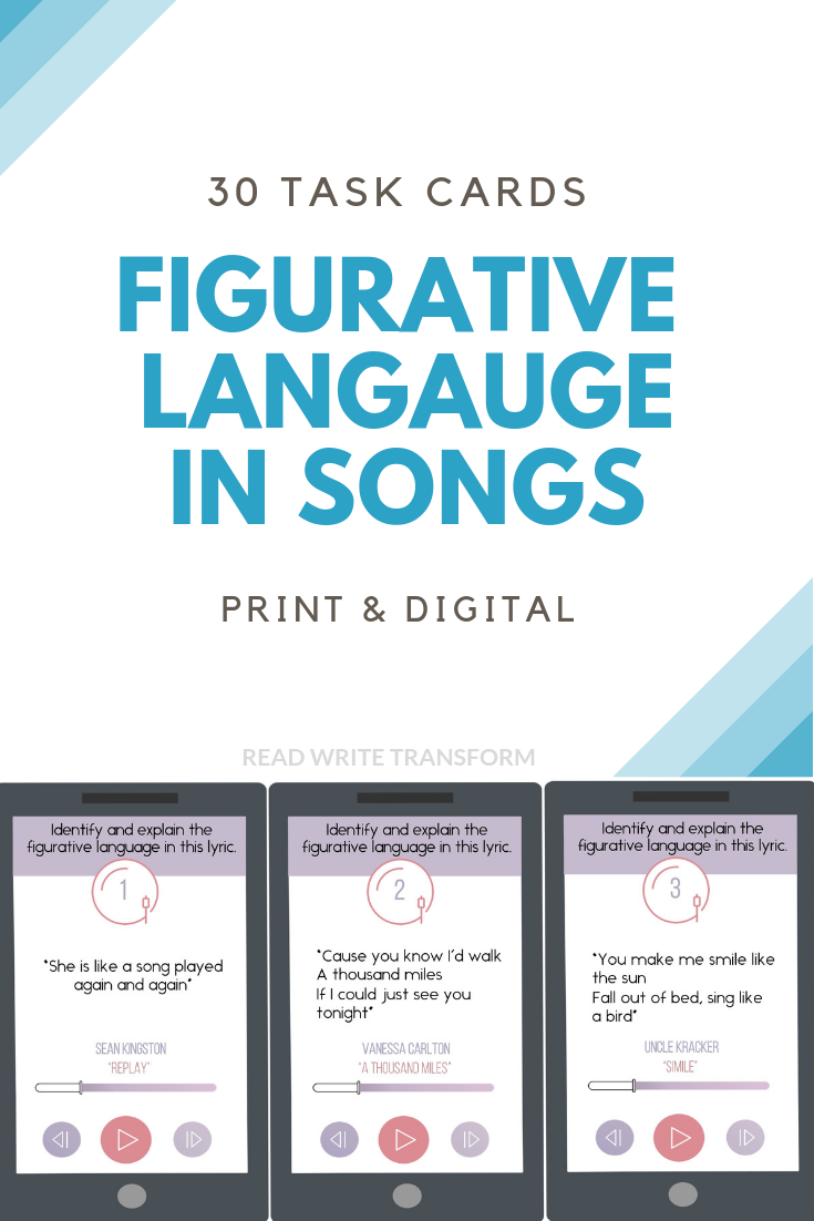 Figurative Language in Songs Task Cards - Print and Digital Options
