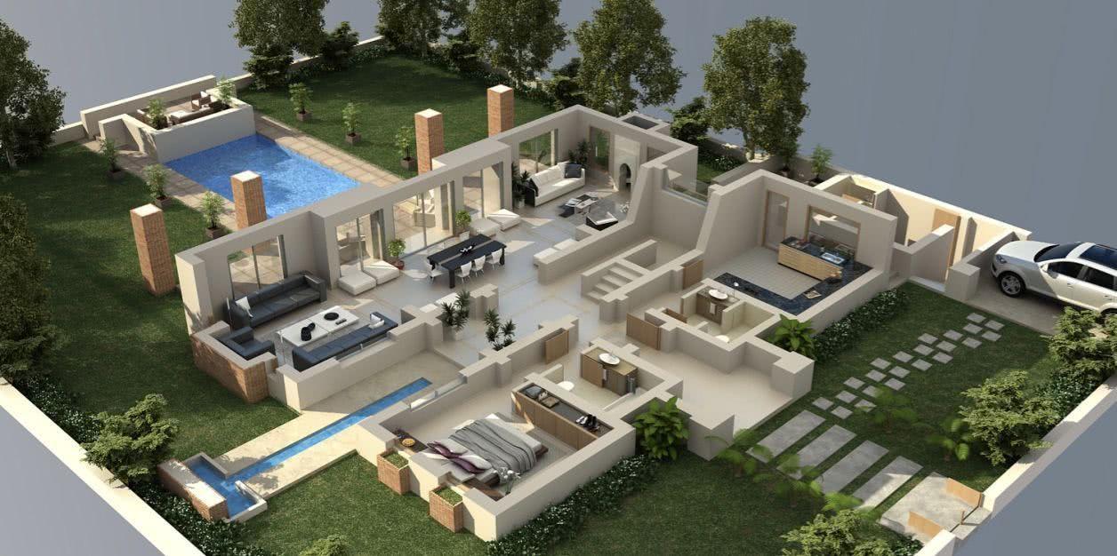 50-one-1-bedroom-apartmenthouse-plans (1) Model Pinterest 50th - plan maison 5 pieces