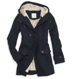 American Eagle Women's Duffle Coat in Navy | Winter coats