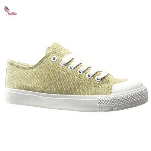 Baskets montantes à talons Mode toile Chaussures à lacets pompe Wedges côté Chaussures Zipper QCTC0 Taille-36 F3H7APlBx