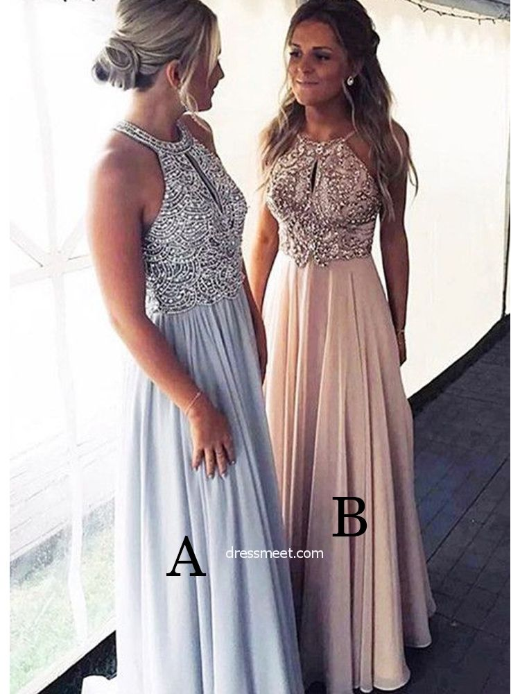 fd31d26e8f Gorgeous A Line Round Neck Light Blue  Brush Beaded Long Prom Dresses