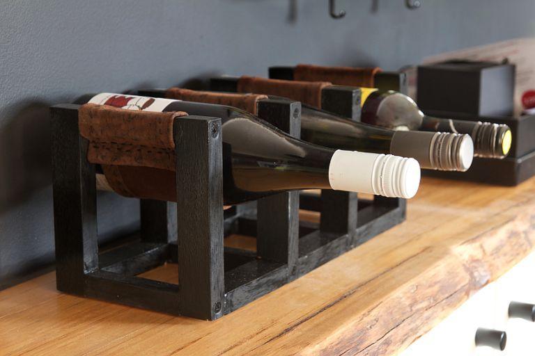 Diy Wine Rack With Leather Sling In Vino Veritas