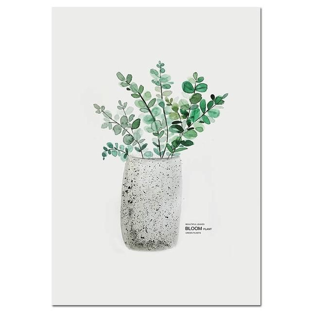 Photo of Plant in Vase Watercolor Wall Art Print – 20x25cm No Frame / Picture 6