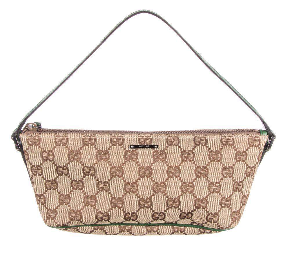 0d33367872f2b4 GUCCI Green Monogram Canvas Boat Pochette Shoulder Bag #fashion #clothing  #shoes #accessories #womensbagshandbags (ebay link)
