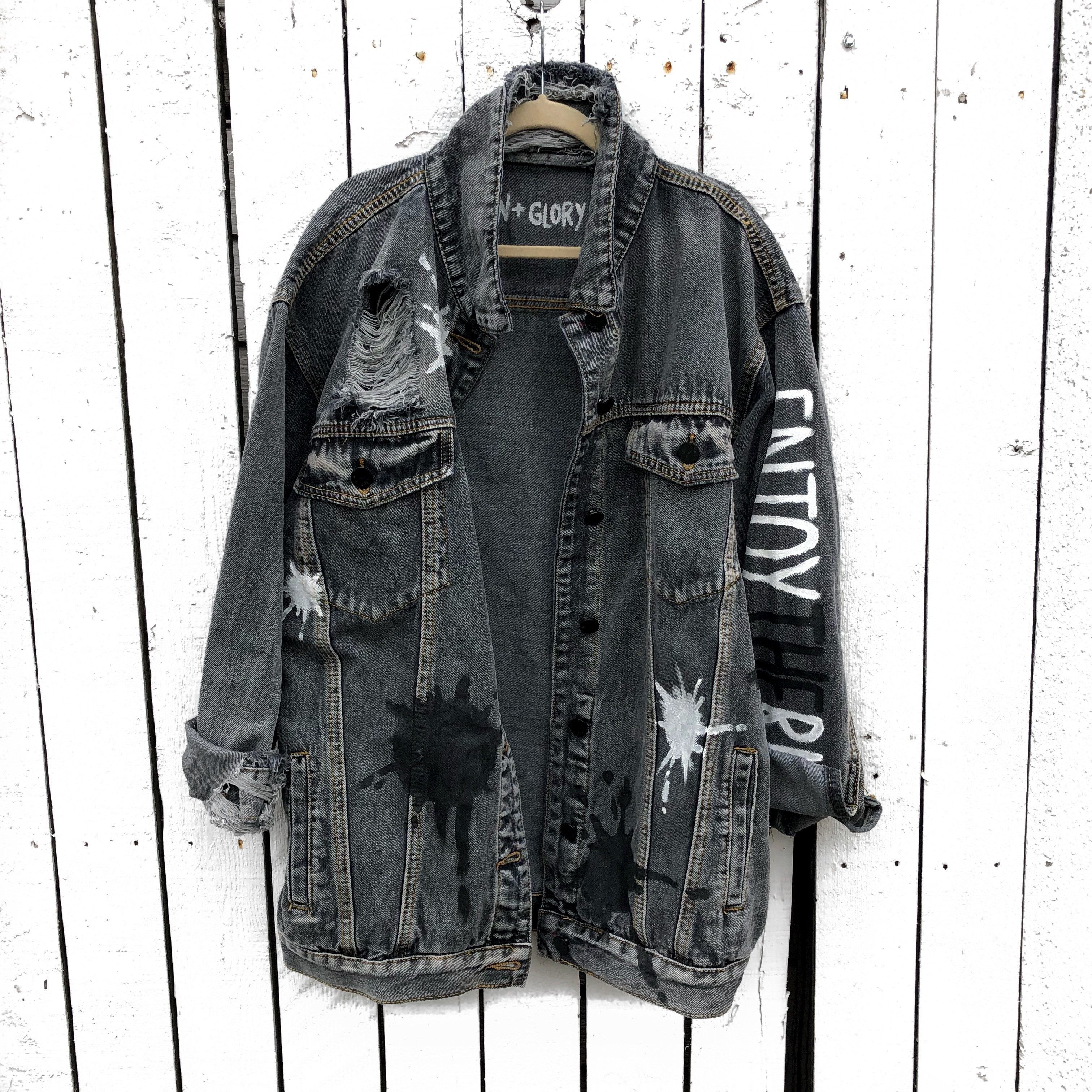 Enjoy The Ride With Your Initial Denim Jacket Women Denim Jacket Women Diy Denim Jacket Black Denim Jacket [ 3024 x 3024 Pixel ]
