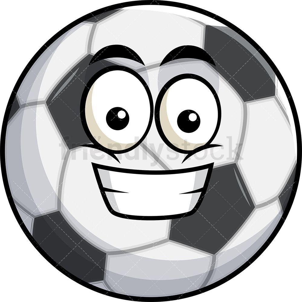 Grinning Soccer Ball Emoji Cartoon Clipart Vector Friendlystock Cartoon Clip Art Emoji Clipart Sports Emojis