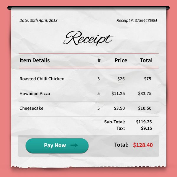 Payment Receipt Psd  Ui Ux Photoshop And App Design