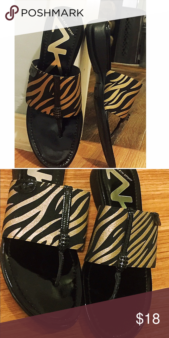Anne Klein Sport zebra thong Brand new Anne Klein thong flip flops. Worn only a few times.  Fits 7-7.5 Anne Klein Shoes Athletic Shoes