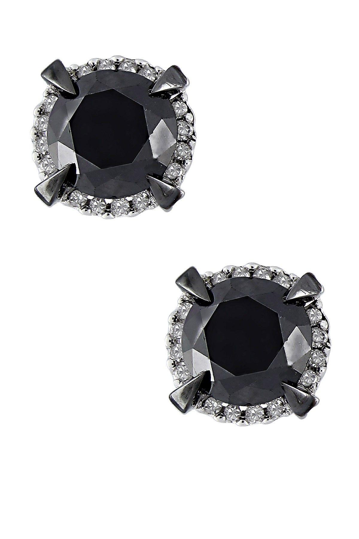 HauteLook - Two-Tonw Round Black Diamond & White Diamond Halo Stud Earrings 2.75ctw  $525