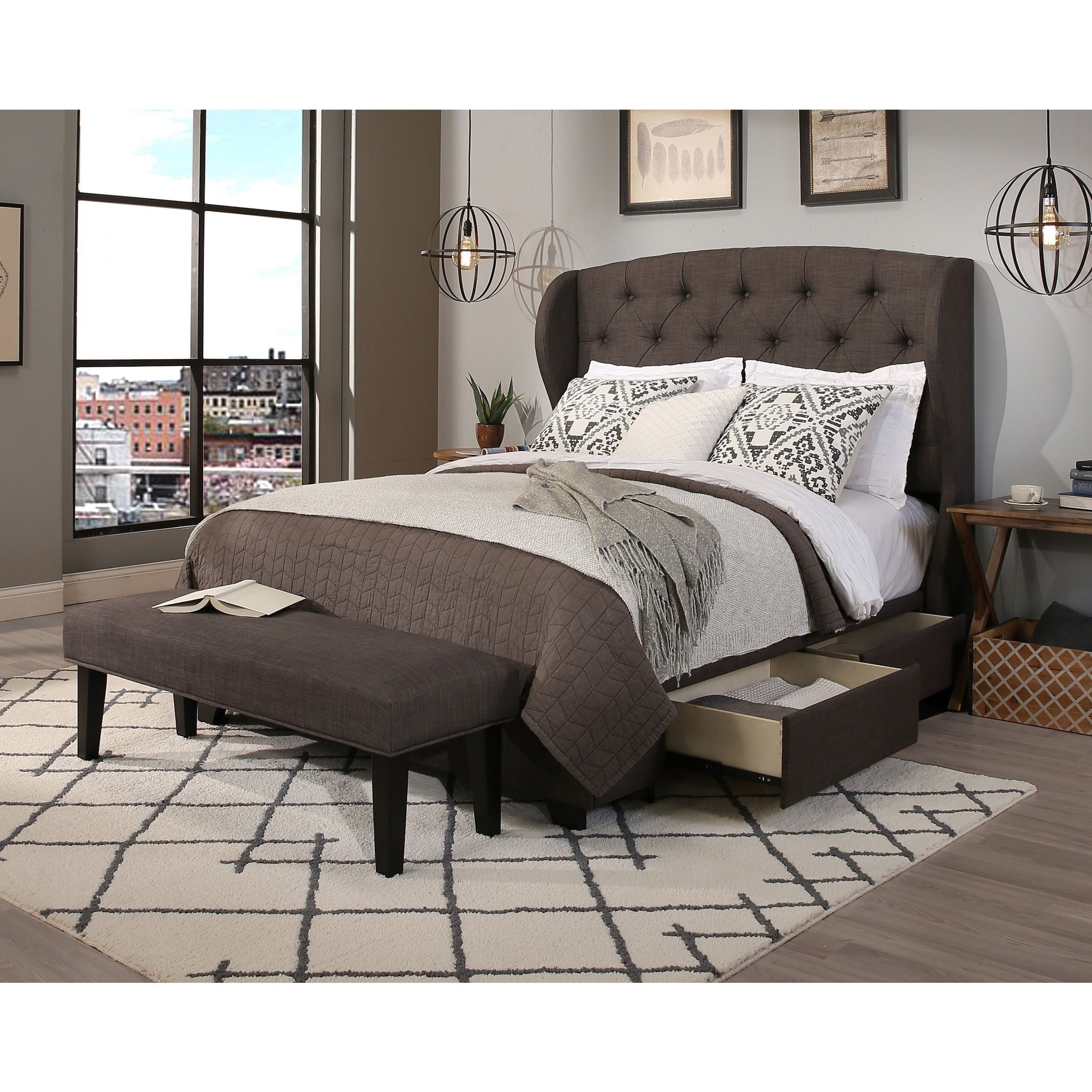 Republic Archer Grey Headboard Storage Bed And Bench Set E King Cal Only