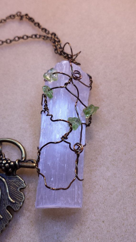 Handcrafted Wire Wrapped Raw Selenite by BeadedDelightsByStef