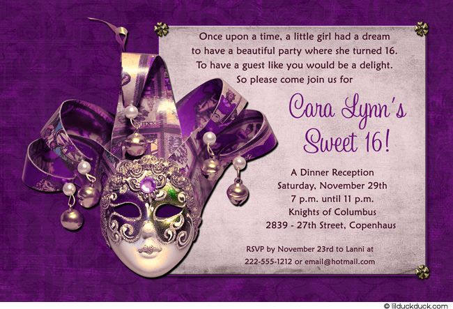 Purple Sweet 16 Invitations Templates – Sweet 16 Birthday Invitation Templates