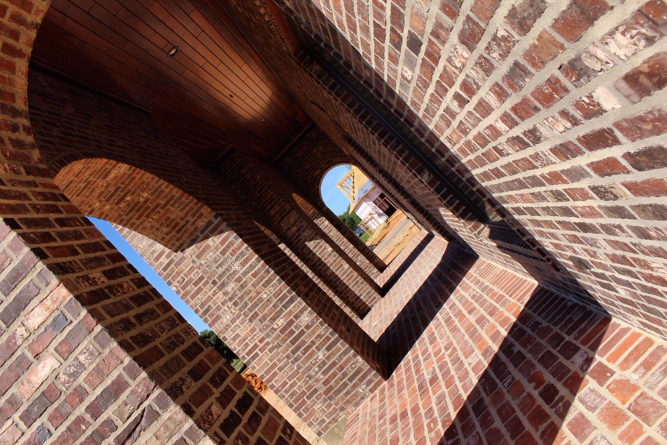 Front Porchbead Board Ceiling Brick Arch Dark Staindark Walnut Stain