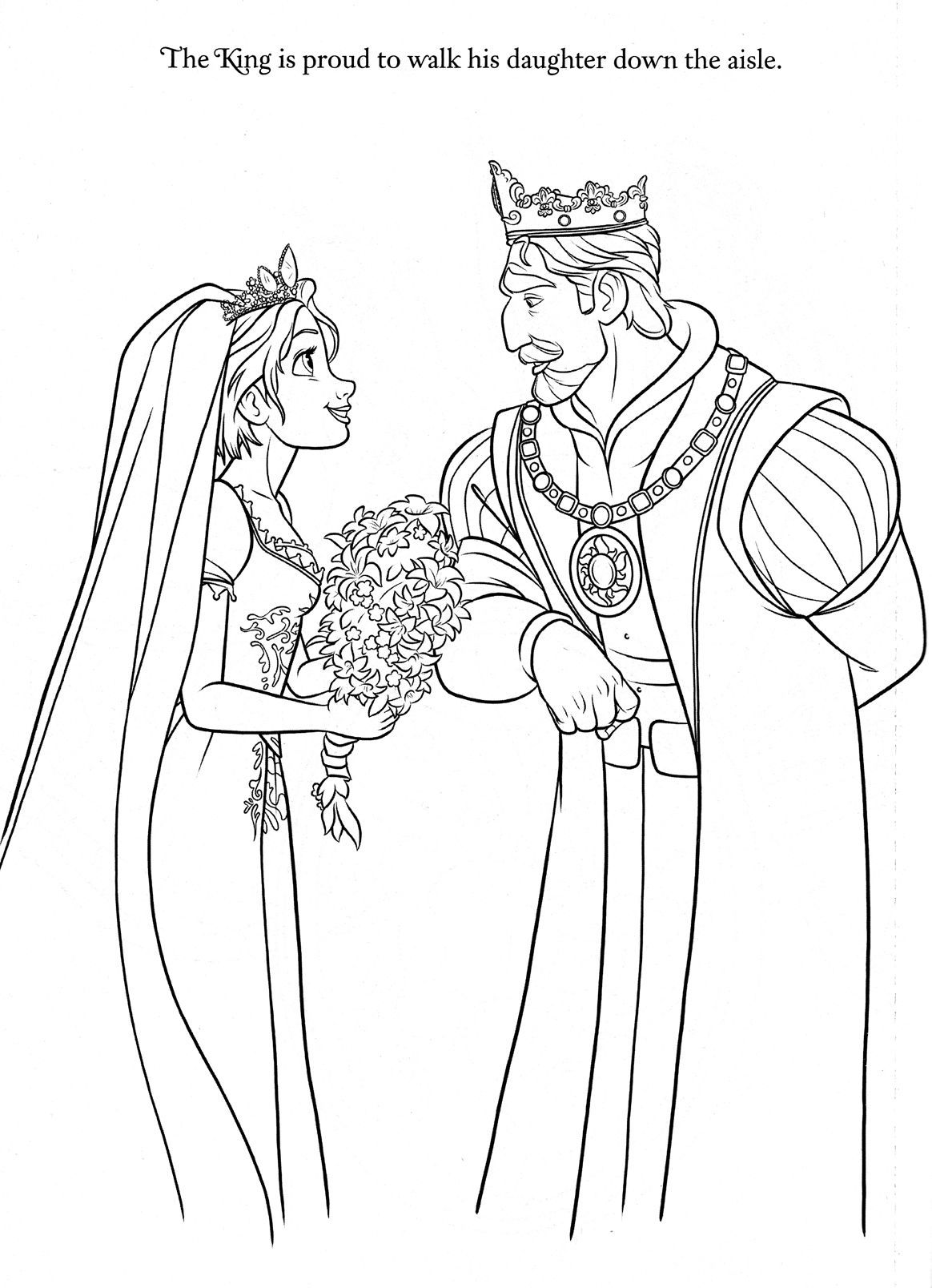 Rapunzel Wedding Coloring Papges