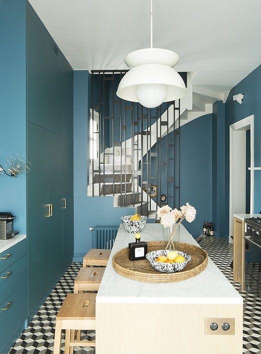 Le bleu turquoise très utilisé pour dynamiser le coin cuisine ...
