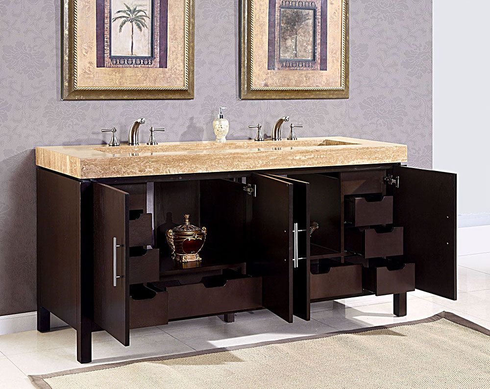 Modern Double Sink Bathroom Vanity Ideas: Modern Double Ramp Sink Bathroom Vanity