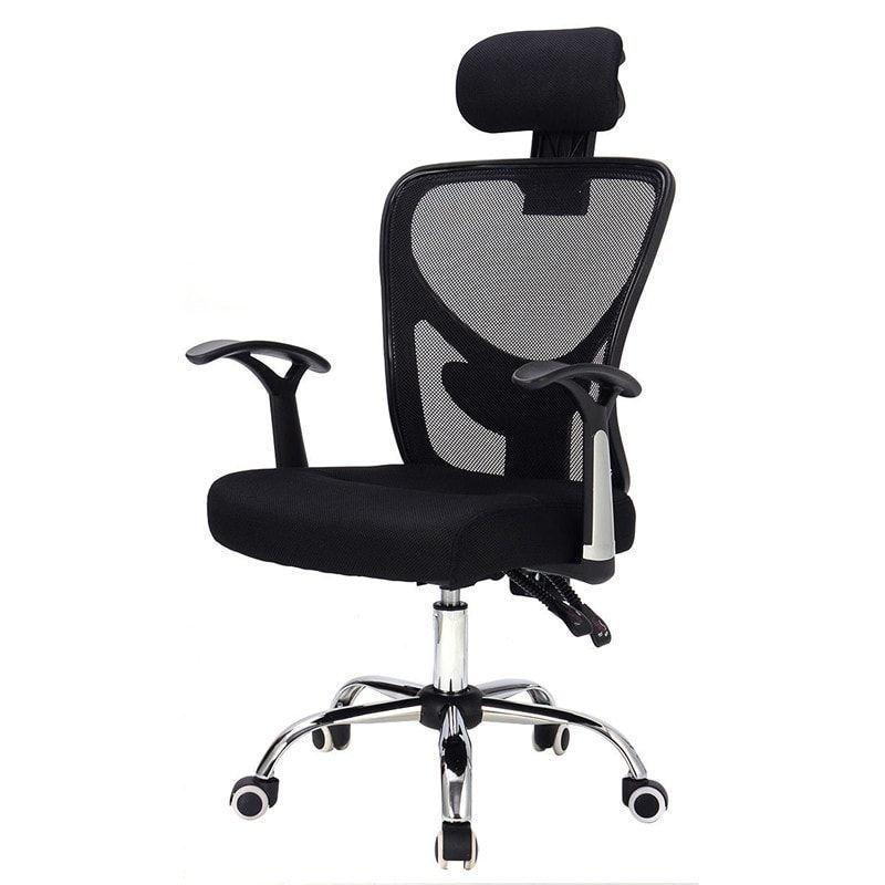 office chair with headrest webbing for lawn chairs costway ergonomic mesh high back black