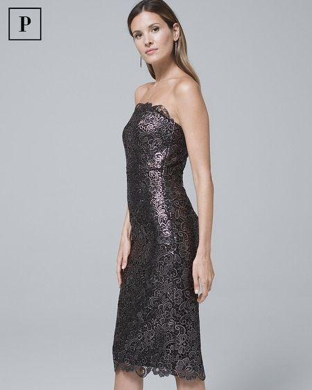 Womens Petite Strapless Metallic Lace Sheath Dress By White House