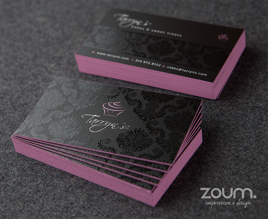 Ultra-thick 32 pt business cards with colored edges, spot UV and ...