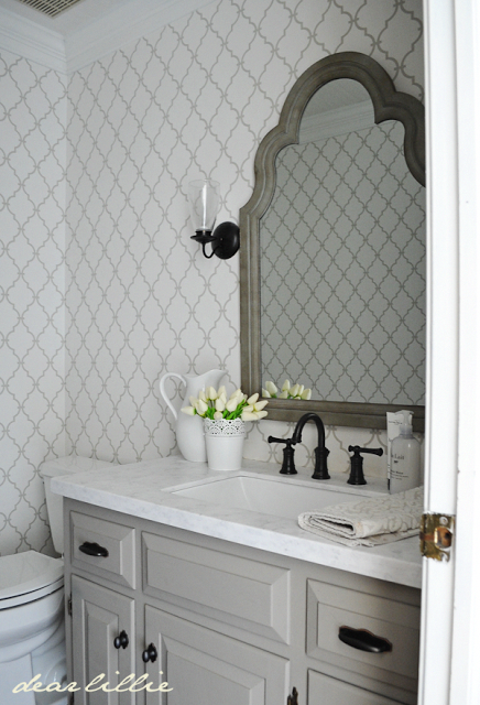 Photo of Love the bathroom wallpaper and mirror #bathroommakeover