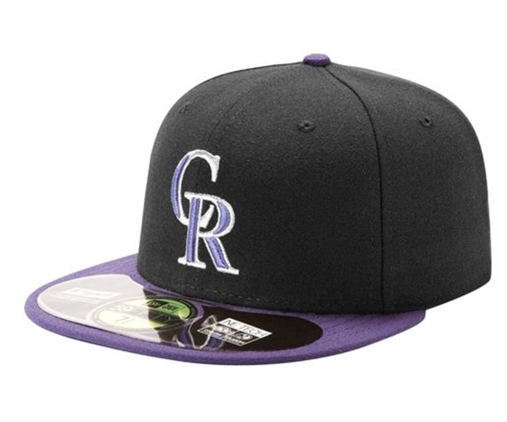 5ee81bf6048 Colorado Rockies CR New Era 59Fifty Fitted Hat Black Purple ...
