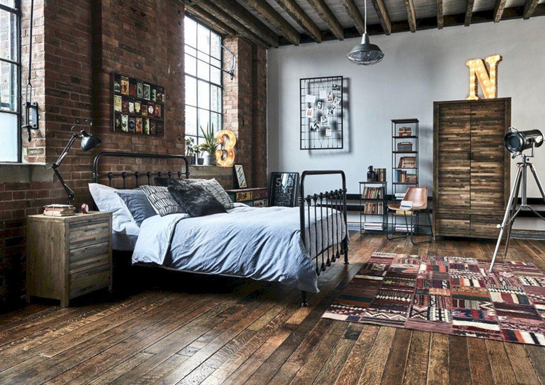 17 Best Industrial Bedroom Design Ideas For To Make Comfortable Your Sleep Home Apartment Garden Industrial Bedroom Design Industrial Style Bedroom Rustic Industrial Bedroom