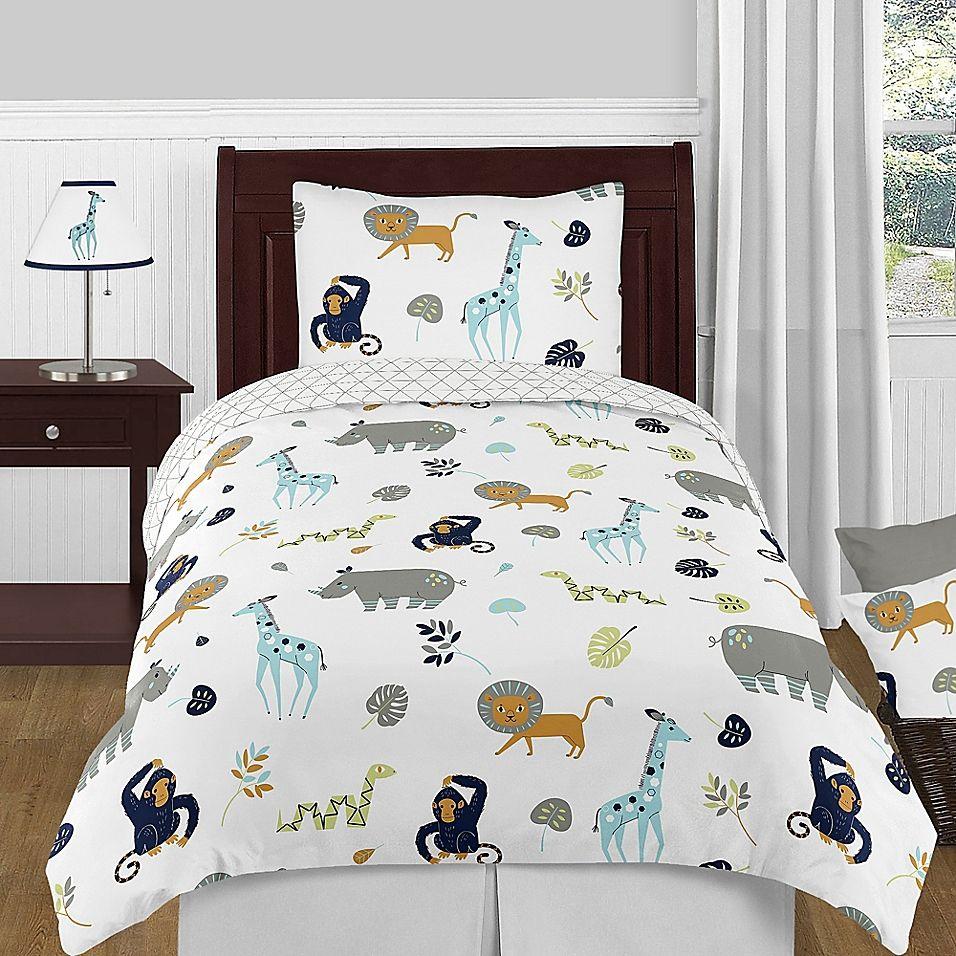 Sweet Jojo Designs Mod Jungle 4 Piece Twin Comforter Set Kids
