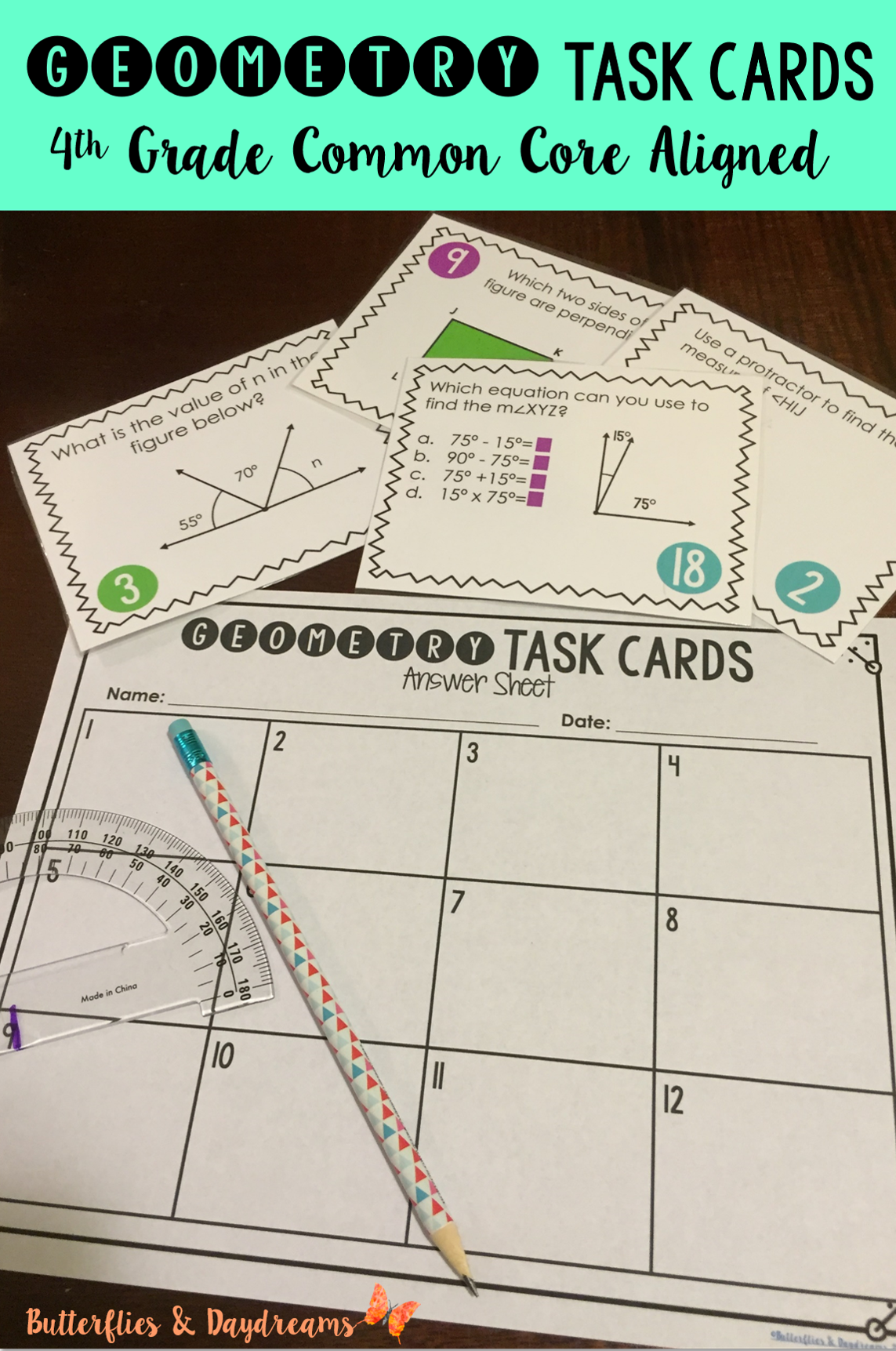 Geometry Task Cards For Measuring Angles Identifying