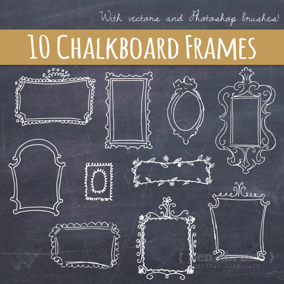 Vector Doodle Frames // Hand Drawn Frames // DIY Wedding Photos // Photo Overlay // Chalkboard // Photoshop Brush Stamp // Commercial Use