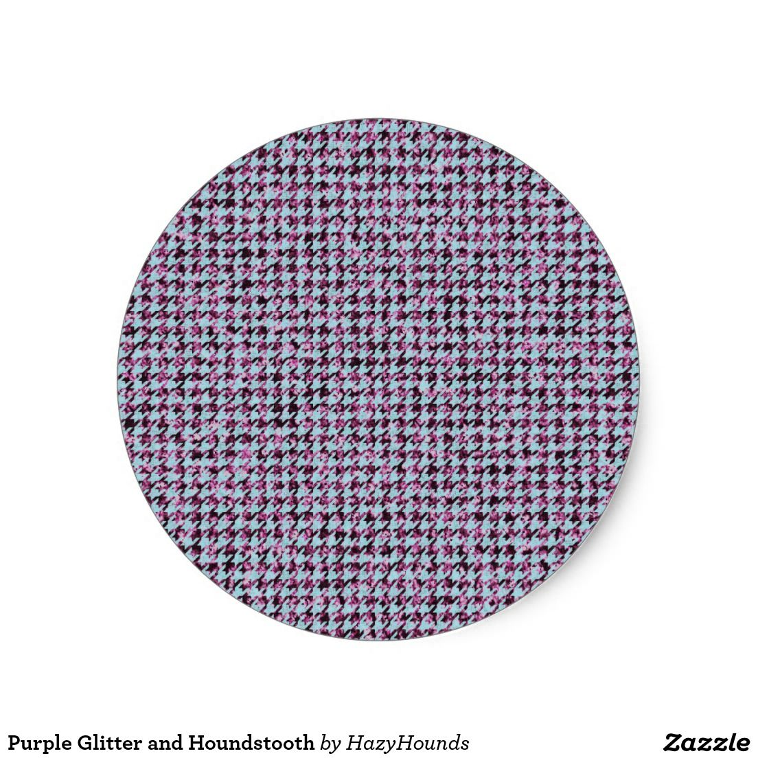 Purple Glitter and Houndstooth Classic Round Sticker