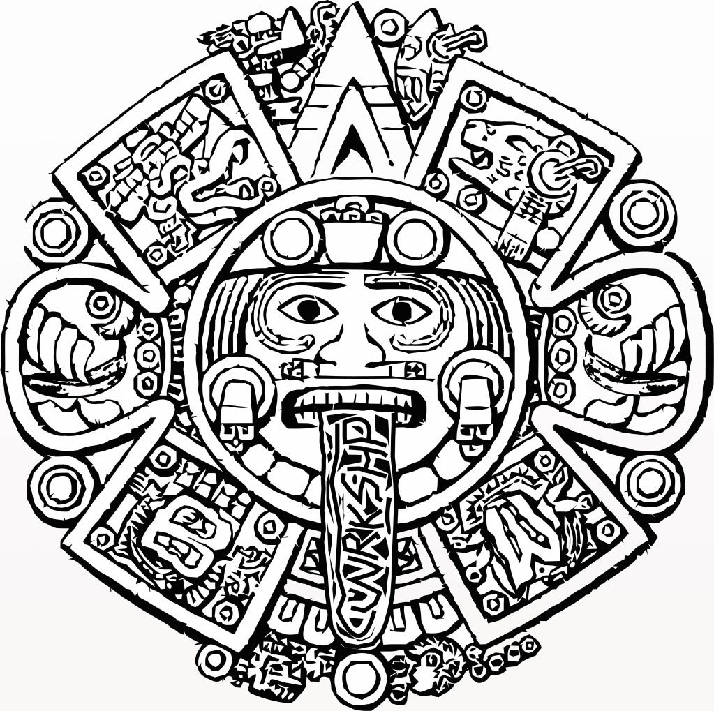 aztec sun calendar coloring page coloring page