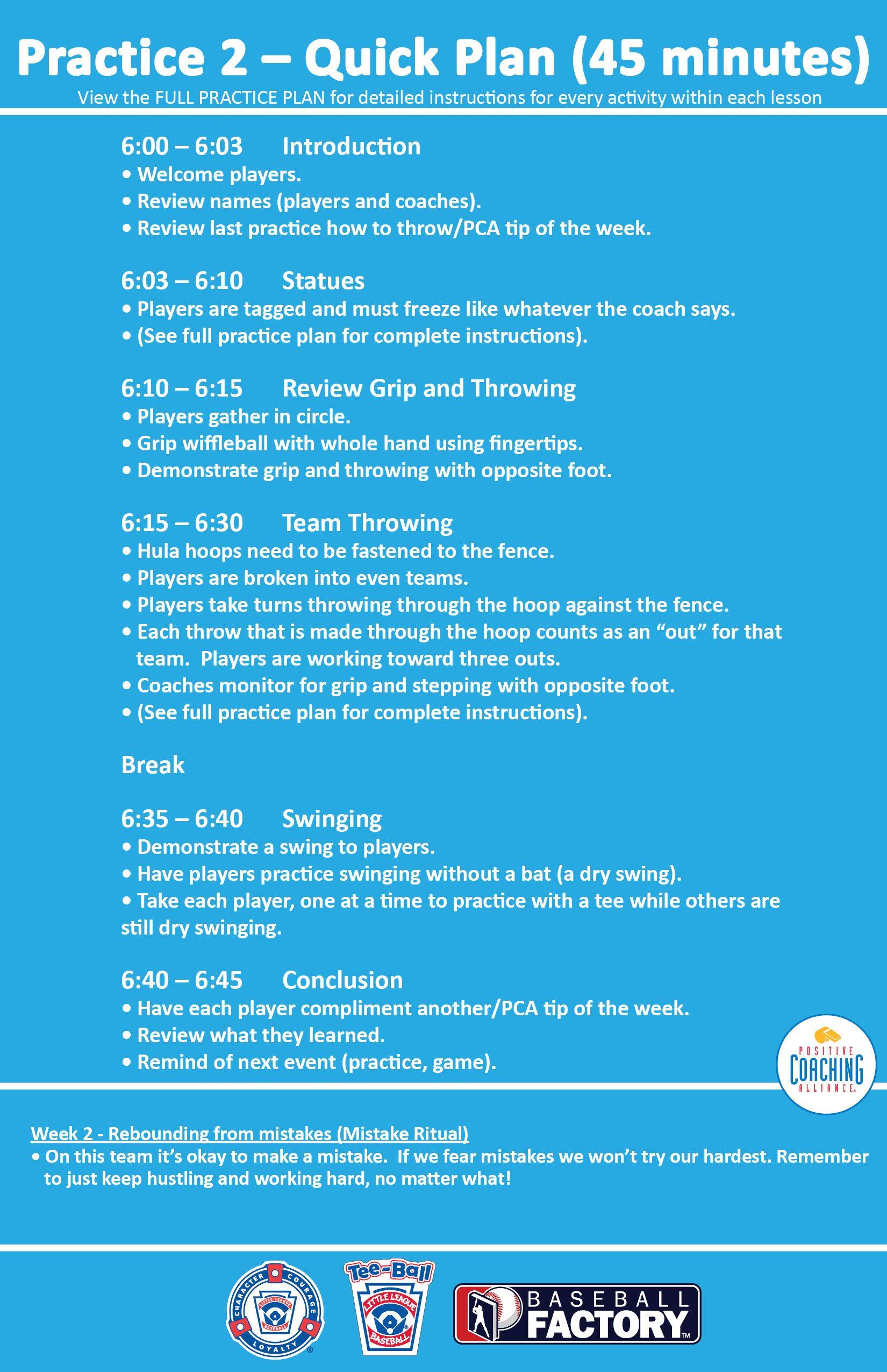 week 2 practice 2 quick plan 45 minutes littleleaguecoach org