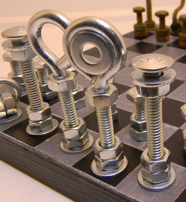 projects ideas metal chess pieces. Hardware Chess Set  The Awesomer I love the creativity Sets