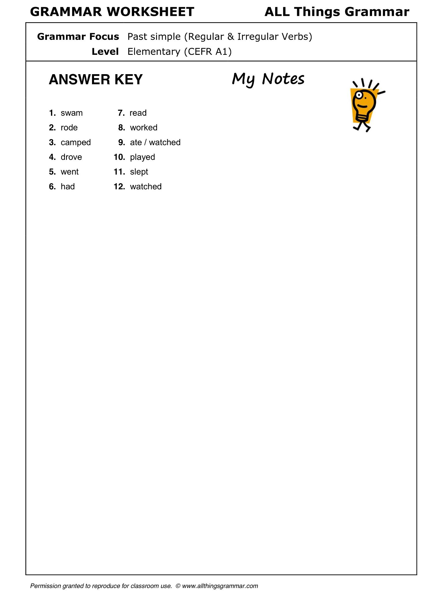 English Grammar Worksheet Past Simple Regular