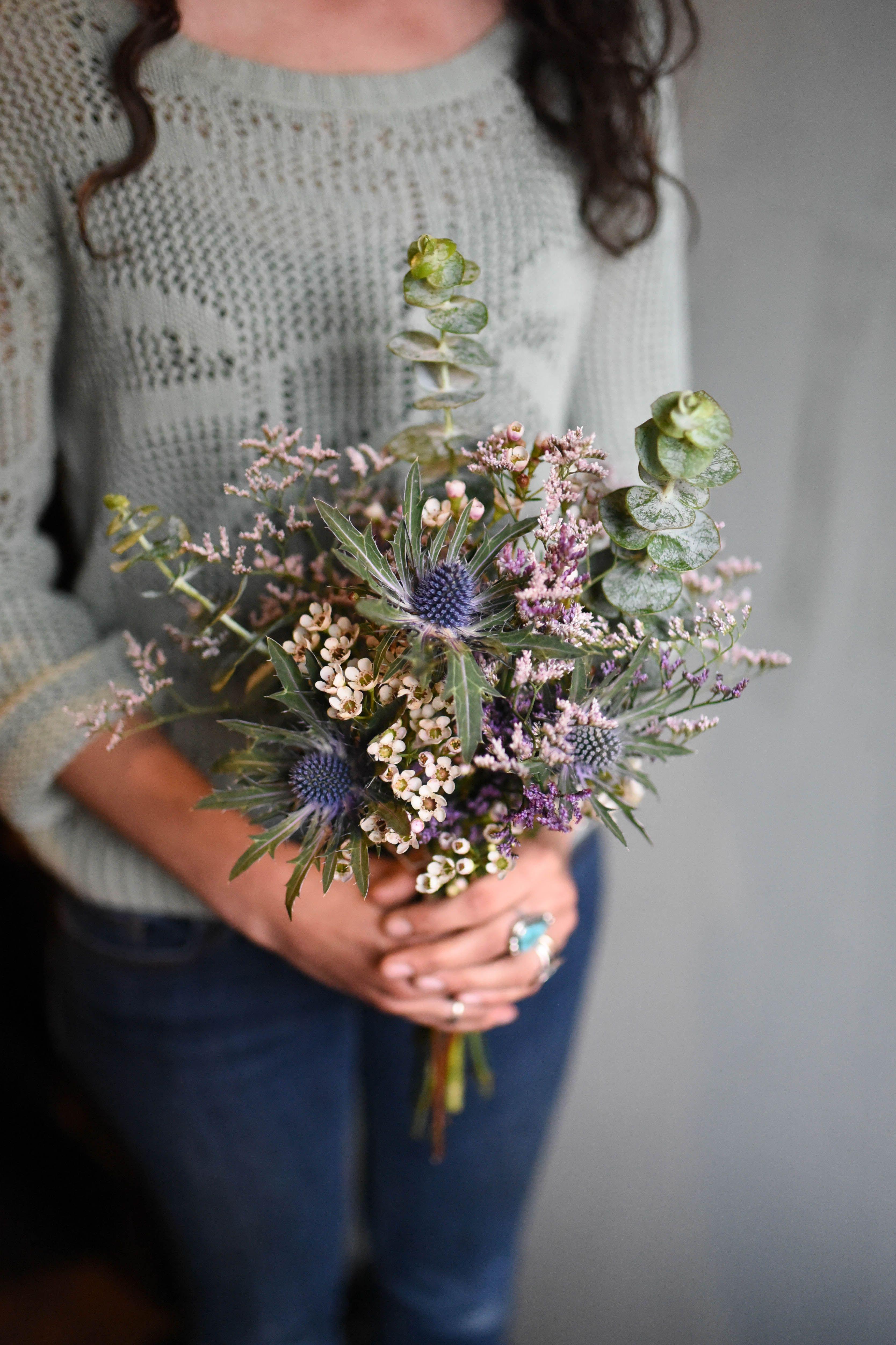 Seaside Wildflower Wedding Bouquet Featuring Statice Wax Flowers