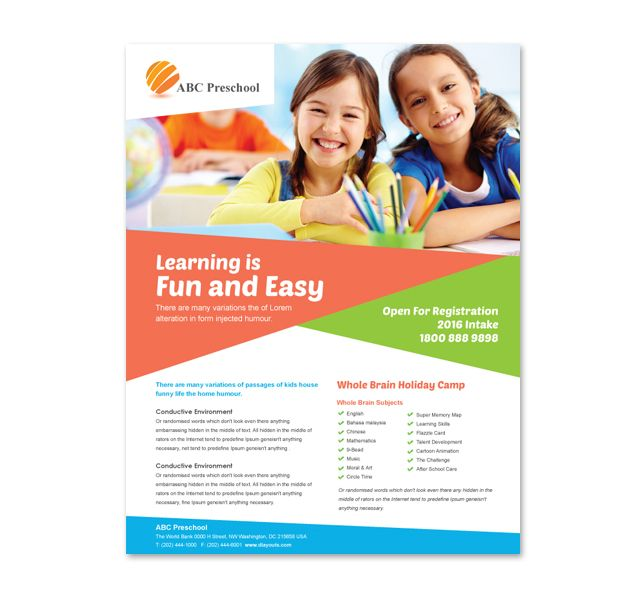 Preschool Education Flyer Template http\/\/wwwdlayouts - free pamphlet templates