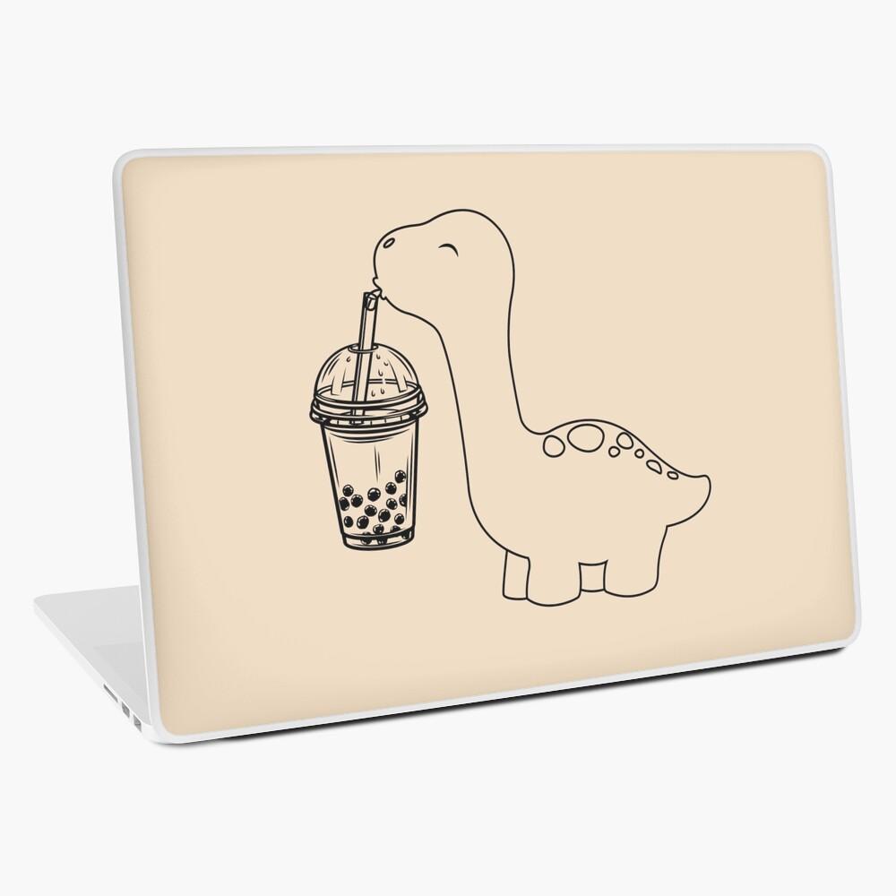 Dinosaur Drinking Bubble Tea Cartoon Laptop Skin By Craftycatart Redbubble Bubble Tea Cartoon Laptop Skin Design