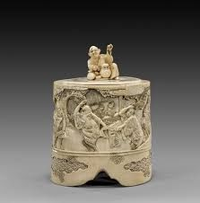 #ivorycarving top quality finely engraved japanese ivory sculptures meji period