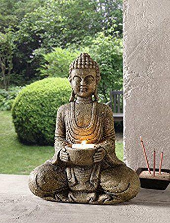 Deko Figur Buddha Grau Kerzenhalter Modern Ausgefallen