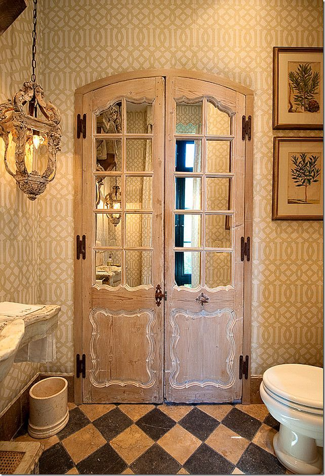 Old Doors With Mirrors Added Behind The Panes Add A Great Look In This Bathroom Are They Entry Doors Or Do They Reveal A Linen Closet