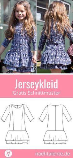 Mädchenkleid mit Volants - Freebook Gr. 74 - 164 | Nähtalente #strickenundnähen