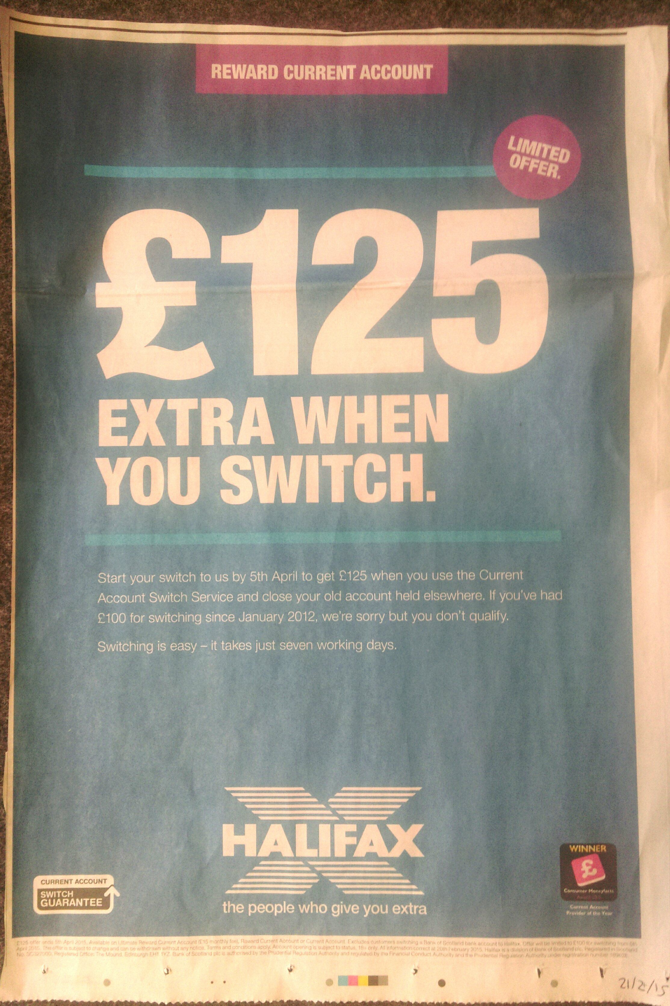 Nice little #CMFAward winner logo appearance for Current Account Provider of the Year in this Halifax newspaper ad.