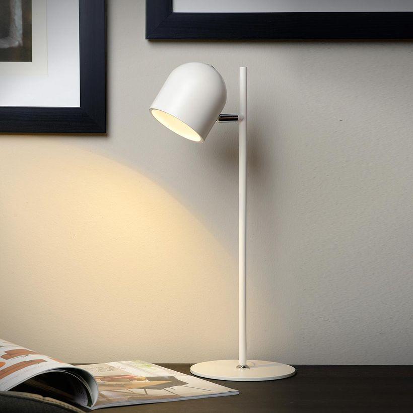 Lampe De Bureau Led En Metal Blanc Skanska Lucide Table Lamp Lamp Desk Lamp