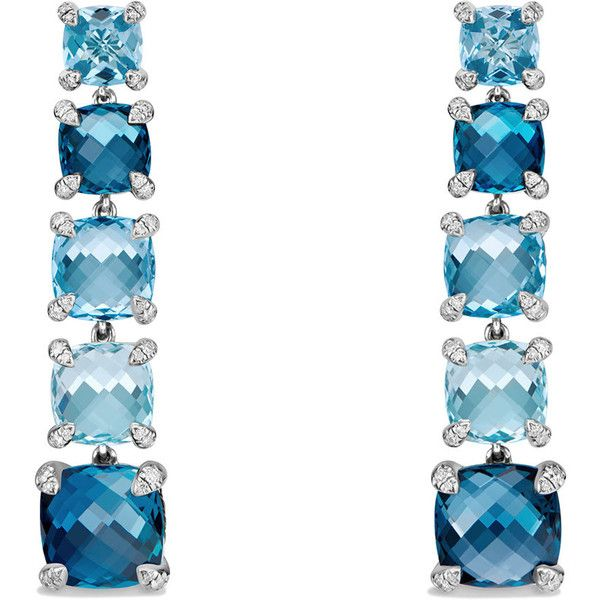 David Yurman Graduated Blue Topaz Drop Earrings with Diamonds (£2,805) ❤ liked on Polyvore featuring jewelry, earrings, blue topaz, drop earrings, blue topaz jewelry, david yurman, post earrings and graduation jewelry