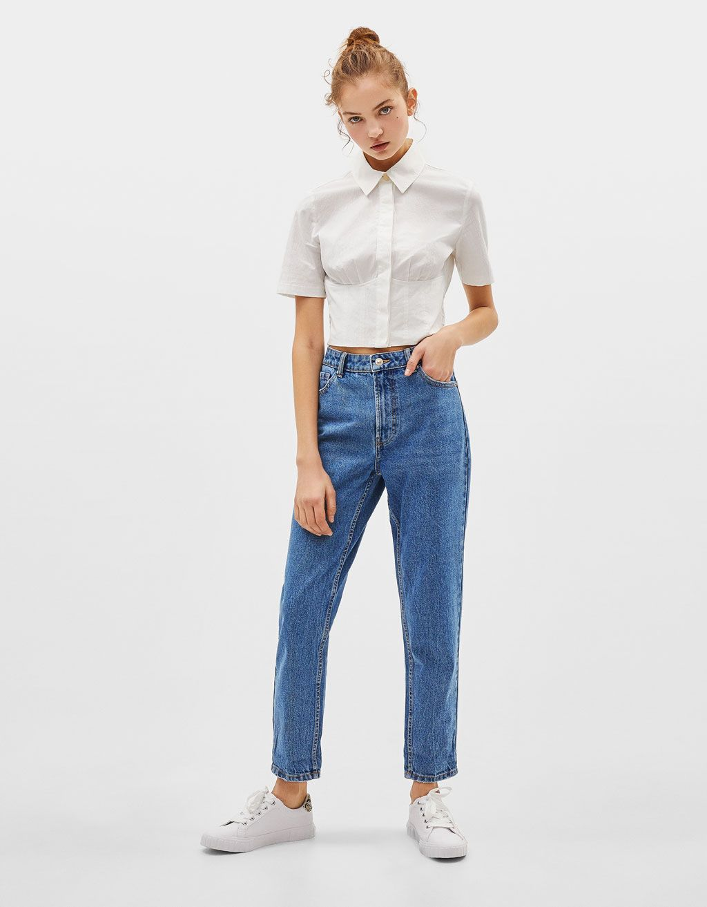 b9c0808de1 High-rise acid wash mom jeans in 2019 | WANT | Jeans, Mom jeans ...